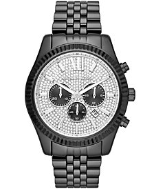 Michael Kors Men's Chronograph Lexington Black Stainless Steel Bracelet Watch 45x54mm