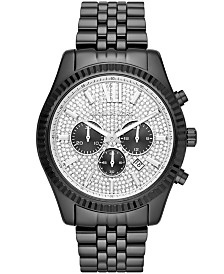 Michael Kors Men's Chronograph Lexington Black Stainless Steel Bracelet Watch 45x54mm