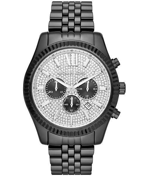 7d97431c1a3e ... Michael Kors Men s Chronograph Lexington Black Stainless Steel Bracelet  Watch 45x54mm ...