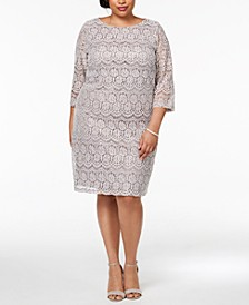 Plus Size Sequined Lace Shift Dress