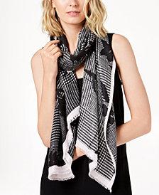 Calvin Klein Floral-Print Plaid Soft Scarf