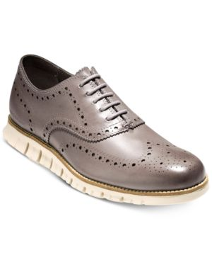Men'S Zerogrand Wingtip Oxfords Men'S Shoes in Ironstone/Ivory