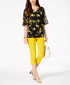 Alfani Surplice Top & Capri Pants, Created for Macy's