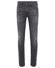 BOSS Men's Skinny-Fit Grey-Knitted Jeans
