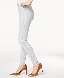 I.N.C. Curvy-Fit Studded Pull-On Skinny Pants, Created for Macy's