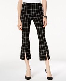 I.N.C. Plaid Cropped Kick-Flare Pants, Created for Macy's