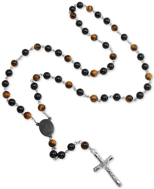 """Macy's Men's Tiger' Eye (5mm) and Black Agate Stone Cross 28"""" Lariat Necklace in Stainless Steel"""
