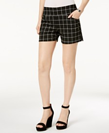 I.N.C. Petite Plaid Pull-On Shorts, Created for Macy's