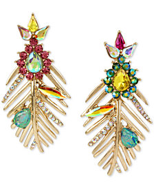 Betsey Johnson Gold-Tone Stone & Crystal Pineapple Palm Frond Mismatch Drop Earrings
