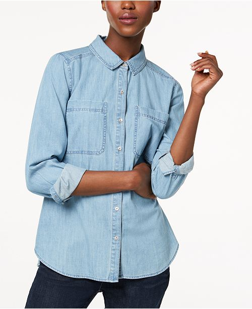 394ab3c687 Eileen Fisher Organic Cotton Shirt in Regular   Petite Sizes - Tops ...