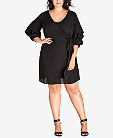 City Chic Trendy Plus Size Sleeve Crush Wrap Tunic