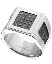 Men's Diamond Leather Ring (1/6 ct. t.w.) in Stainless Steel
