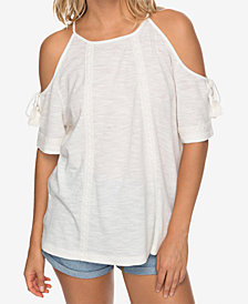 Roxy Juniors' Hills of Love Cotton Cold-Shoulder Top