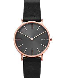 Skagen Men's Hagen Slim Black Leather Strap Watch 38mm