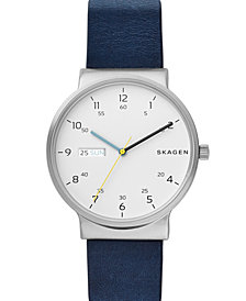 Skagen Men's Ancher Blue Leather Strap Watch 40mm