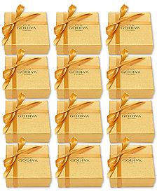 Godiva Set of 12 4-Pc. Gold Gift Boxes