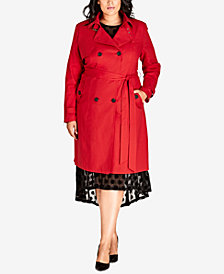 City Chic Trendy Plus Size Mystique Belted Trench Coat