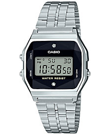 G-Shock Unisex Digital Vintage Diamond (1/10 ct. t.w.) Stainless Steel Bracelet Watch 37mm, Created for Macy's