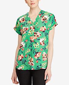 Lauren Ralph Lauren Floral-Print V-Neck Top