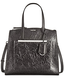 Calvin Klein Mara Floral Embossed Leather Satchel