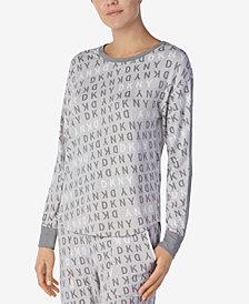 DKNY Logo Long-Sleeve Knit Pajama Top