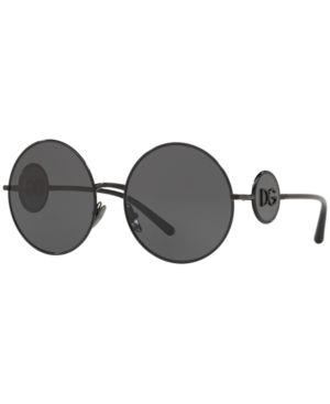 Round Metal Sunglasses With Dg Logo in Black