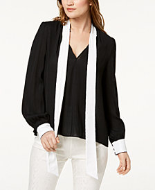 Rachel Zoe Courtney Sequined Tie-Neck Top