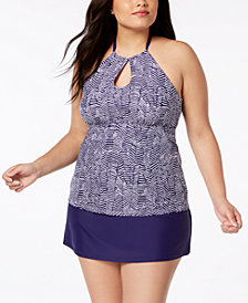 Island Escape Plus Size Mikonos Underwire Tankini Top & Tummy-Control Swim Skirt, Created for Macy's