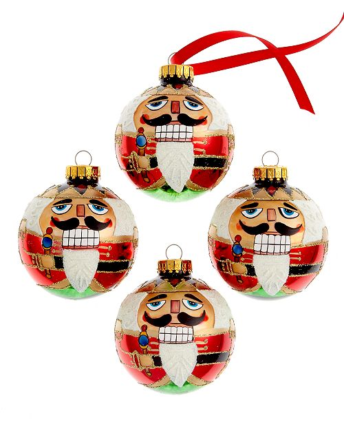 Kurt Adler 65mm Nutcracker Design Glass Ball Ornament, Set of 4