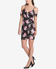 GUESS Cold-Shoulder Floral Dress