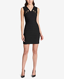 GUESS Lace-Up Bandage Bodycon Dress, Created for Macy's