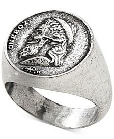 Men's Greek Skull Coin Ring in Sterling Silver