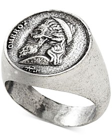 DEGS & SAL Men's Greek Skull Coin Ring in Sterling Silver