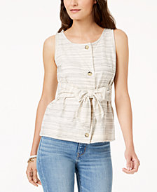 Lucky Brand Striped Tie-Front Sleeveless Top