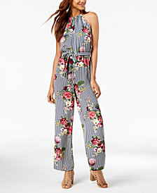 Sequin Hearts Juniors' Belted Floral-Stripe Jumpsuit