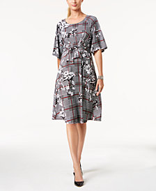 NY Collection Petite Printed Tie-Front A-Line Dress