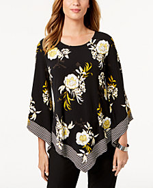 Alfani Petite Printed Pointed-Hem Top, Created for Macy's