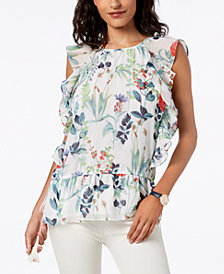 Tommy Hilfiger Printed Ruffled Top, Created for Macy's