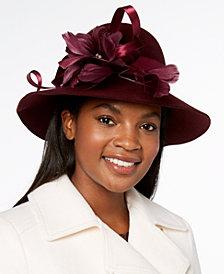 Josette Feather & Flower Embellished Wool Felt Floppy Hat
