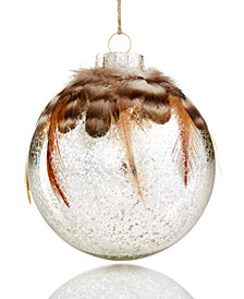 Holiday Lane Glass Ornament with Feathers, Created for Macy's