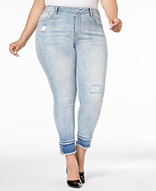 Seven7 Trendy Plus Size Skinny Released-Hem Jeans