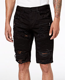 Heritage America Men's Ripped Black Denim Shorts