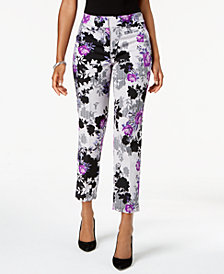 Nine West Floral-Print Crepe Pants