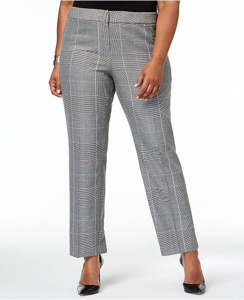 Black Pants Straight Nine Dewberry Multi Size Plus Leg West Plaid qfFRw67