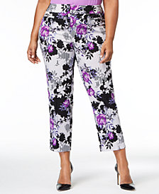 Nine West Plus Size Floral-Print Crepe Pants