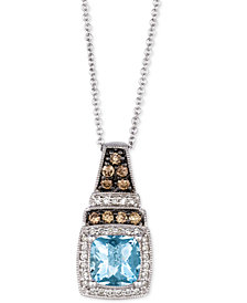 "Le Vian® Sea Blue Aquamarine® (1-1/4 ct. t.w.) & Diamond (1/3 ct. t.w.) 18"" Pendant Necklace in 14k White Gold"