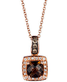 "Le Vian® Chocolate Quartz® (3/4 ct. t.w.) & Diamond (1/8 ct. t.w.) 18"" Pendant Necklace in 14k Rose Gold"
