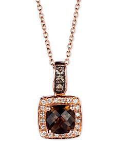 "Le Vian® Chocolate Quartz® (3/4 ct. t.w.) & Diamond (1/8 ct. t.w.) 18"" Pendant Necklace in 14k Rose Gold"