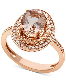 Morganite (1-1/2 ct. t.w.) & Diamond (1/5 ct. t.w.) Ring in 14k Rose Gold