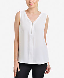 NY Collection Zip-Front Top